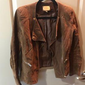 Brown suede jacket moto jacket